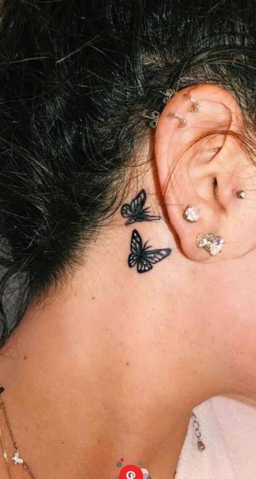 butterfly tattoo back of ear